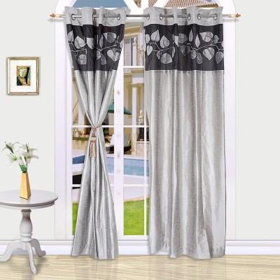 Eyda Polyester Black Abstract Eyelet Long Door Curtain
