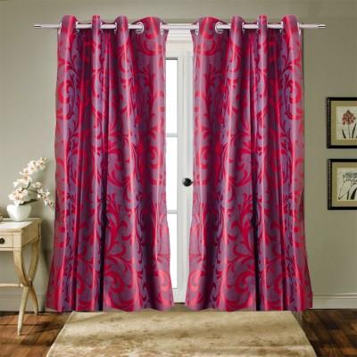 Trendy Home Polyester Maroon Printed Eyelet Door Curtain