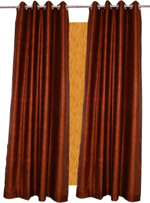 Alagh Fashions Polyester Brown Self Design Eyelet Door Curtain