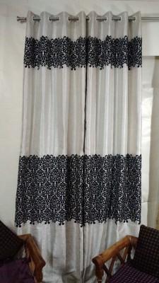 FC Polycotton Black Floral Eyelet Long Door Curtain