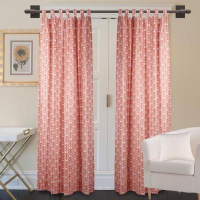 Marmitte Cotton Orange Printed Rod pocket Window Curtain
