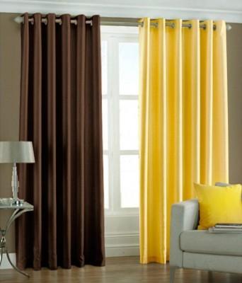 LV Polyester Multicolor Plain Eyelet Door Curtain