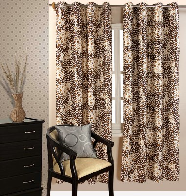 Royal Collection Polyester Brown Printed Eyelet Window Curtain