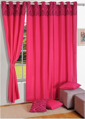Swayam Cotton Maroon, Pink Floral Eyelet Door Curtain