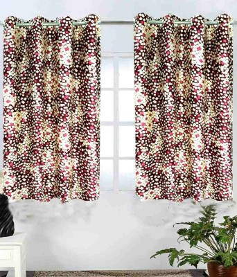Shopgalore Polyester Red Abstract Eyelet Window Curtain