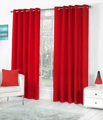 shivamconcepts Polyester Red Plain Eyelet Long Door Curtain
