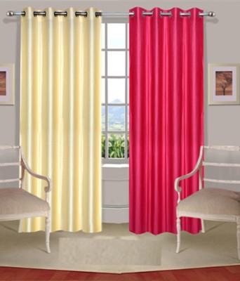 Fogg Polyester Pink, Beige Solid Tab Top Door Curtain