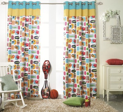 KC HOME Polyester Yellow, Blue, White Printed Curtain Window Curtain