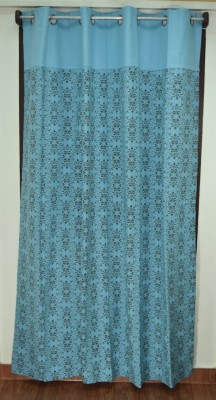 Thuhil Home Linen Cotton Blue Printed Eyelet Door Curtain