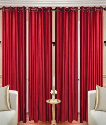 Home Fashion Gallery Polyester Maroon Plain Eyelet Window Curtain