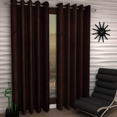 Home Sizzler Polyester Brown Plain Eyelet Door Curtain