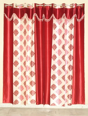 GLOW Polyester Maroon Abstract Eyelet Door Curtain