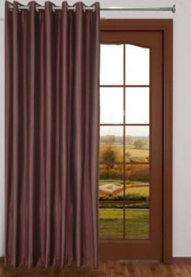 Big Onlineshop Polyester Brown Plain Eyelet Door Curtain