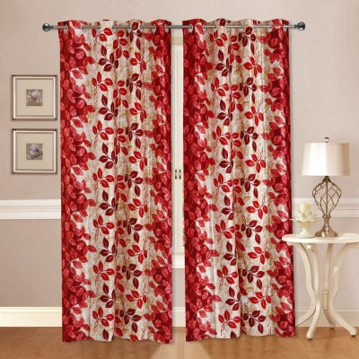 Dekor World Polyester Red Floral Eyelet Long Door Curtain