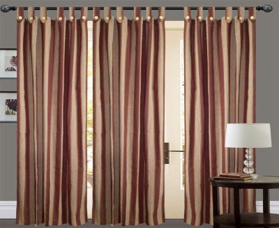 New Ladies Zone Cotton Brown Striped Tab Top Window Curtain