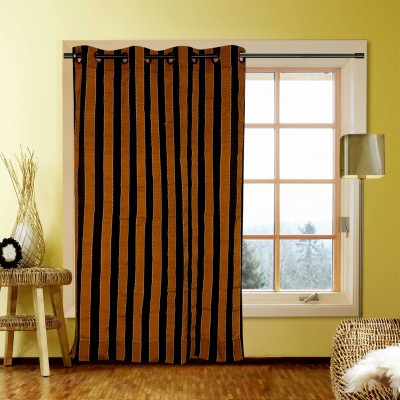 Kings Polycotton Brown Striped Tab Top Door Curtain