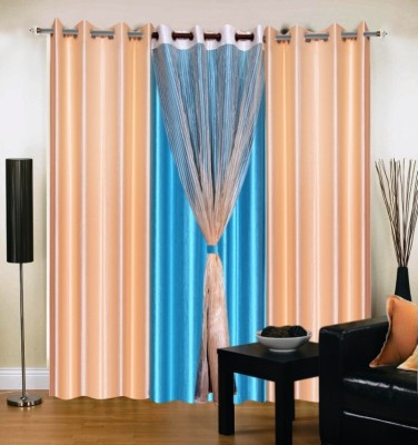 Brand Decor Polyester Beige, Blue Solid Eyelet Long Door Curtain