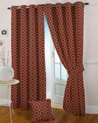 Presto Polycotton Maroon Abstract Eyelet Window Curtain