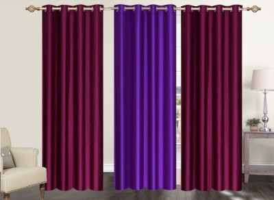Furnishing Zone Polyester Maroon, Purple Plain Eyelet Long Door Curtain