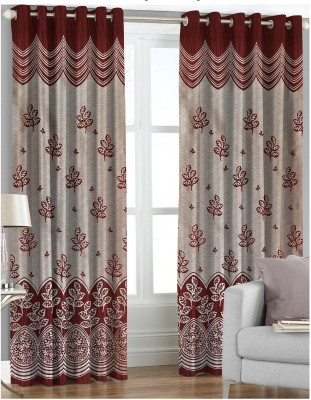 Comfy Polyester Maroon Floral Eyelet Door Curtain