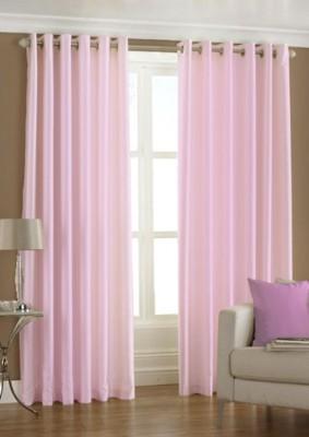 Panipat Textile Hub Polyester Baby Pink Plain Eyelet Door Curtain