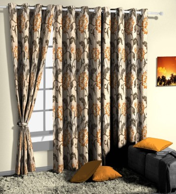 Curtainman Polyester Brown Floral Eyelet Door Curtain