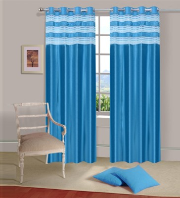 Ville Style Polyester Light Blue Solid Eyelet Door Curtain