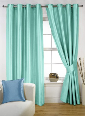 Homec Polyester Teal Solid Eyelet Window Curtain