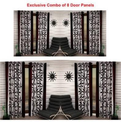 Handloomhub Polyester Brown Self Design Eyelet Door Curtain