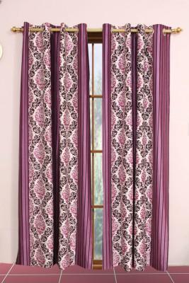 Metro Living Polyester Purple Printed Eyelet Long Door Curtain