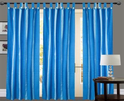 New Ladies Zone Cotton Dark Blue Striped Tab Top Window Curtain