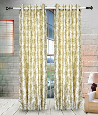 J&J Polyester Gold Printed Eyelet Window & Door Curtain