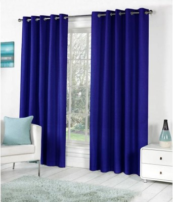 Home Fashion Gallery Polyester Blue Plain Eyelet Window Curtain