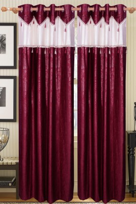 Raj Shobha Home Decor Jacquard Pink Plain Eyelet Door Curtain