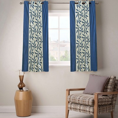 Enaakshi Polyester Blue Floral Eyelet Window Curtain