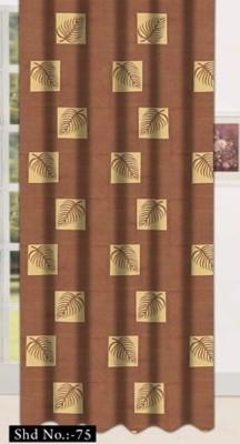 Drapez Polyester Brown Geometric Eyelet Long Door Curtain