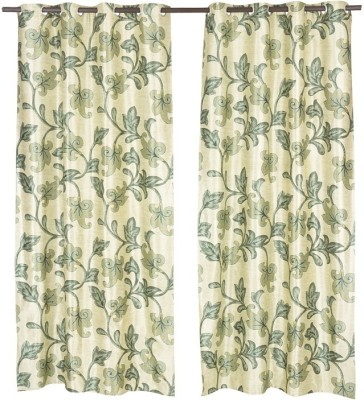 Home Aid Polyester Green Floral Eyelet Door Curtain