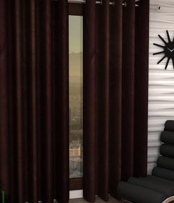 Homedecorhd Polyester Brown Solid Eyelet Window & Door Curtain