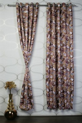 Titu Polyester Brown Solid Eyelet Door Curtain