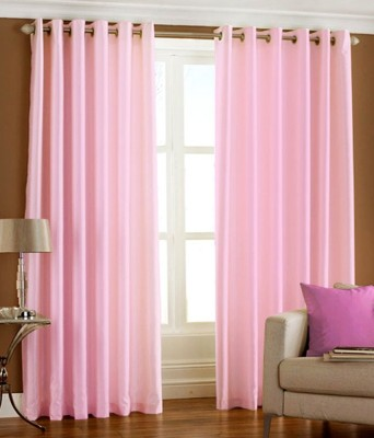 Fabbig Polyester Pink Plain Ring Rod Window Curtain
