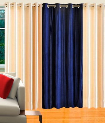 K-Star Polyester Blue Solid Eyelet Window Curtain