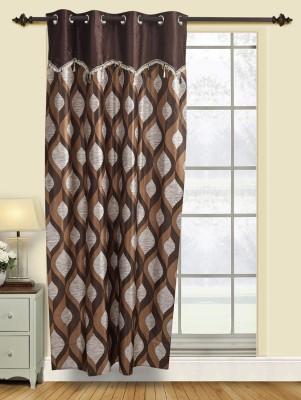 Firangi Polyester Coffee Geometric Eyelet Door Curtain