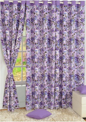 Swayam Cotton Pink, Purple Floral Eyelet Door Curtain