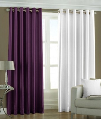 RK Home Furnishing Polyester Purple, White Solid Eyelet Door Curtain
