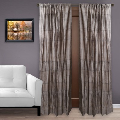 MARMITTE Silk Brown Plain Rod pocket Door Curtain