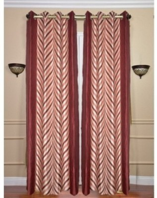 RedHot Polyester Red Abstract Eyelet Long Door Curtain