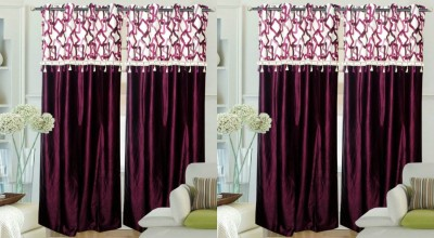 Hargunz Polyester Black, White Abstract Eyelet Door Curtain