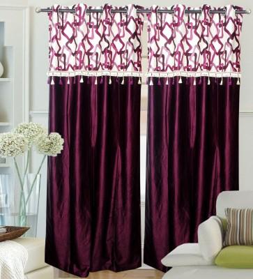Decor Vatika Polyester Maroon Abstract Eyelet Long Door Curtain