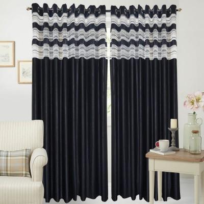 Rayon Casa Polyester Black Plain Eyelet Long Door Curtain