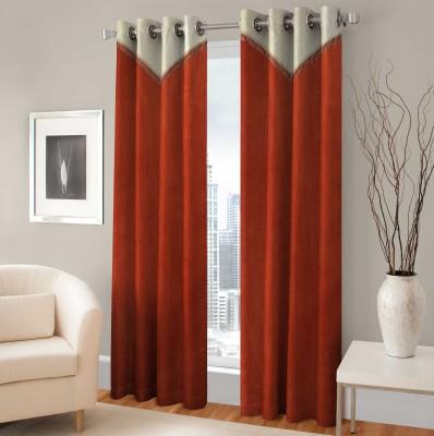 BSB Trendz Polyester Orange Printed Eyelet Door Curtain
